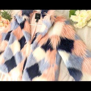 Colorful Faux Fur Jacket/ Coat